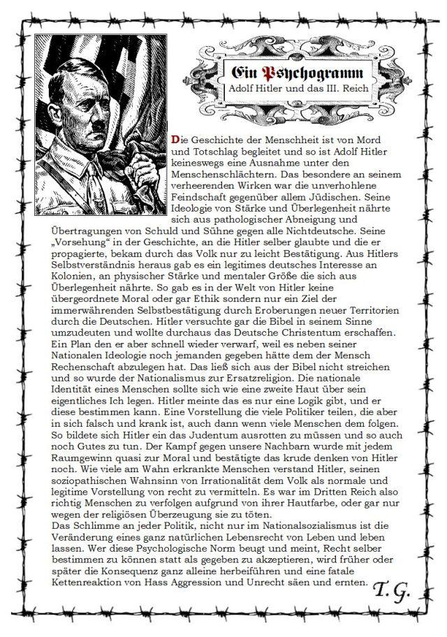 Hitlers Psychogramm in Kurzform.